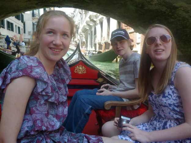Emma, James, Zoe on a trip to Italy gifted from the Make a Wish Foundation 2012. image by Natalie Evans