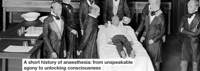 General anaesthesia has come a long way since its first public demonstration in the 19th century, depicted here.