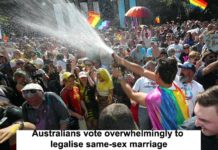 AUSTRALIANS VOTE OVERWHELMINGLY TO LEGALISE SAME-SEX MARRIAGE