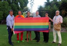 (From left) Port Phillip Council CEO Peter Smith, Mayor Dick Gross, Crs Ogy Simic and Tim Baxter, Midsumma CEO Karen Bryant and Cr David Brand at the flag raising