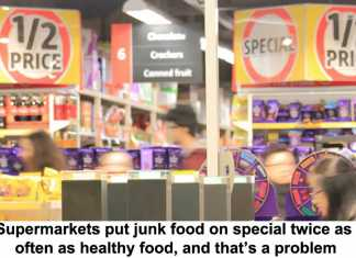 supermarkets put junk food on special twice as often as healthy food, and that's a problem