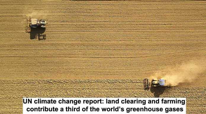 un climate change report: land clearing and farming contribute a third of the world's greenhouse gases