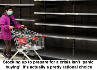 stocking up to prepare for a crisis isn't 'panic buying'. it's actually a pretty rational choice