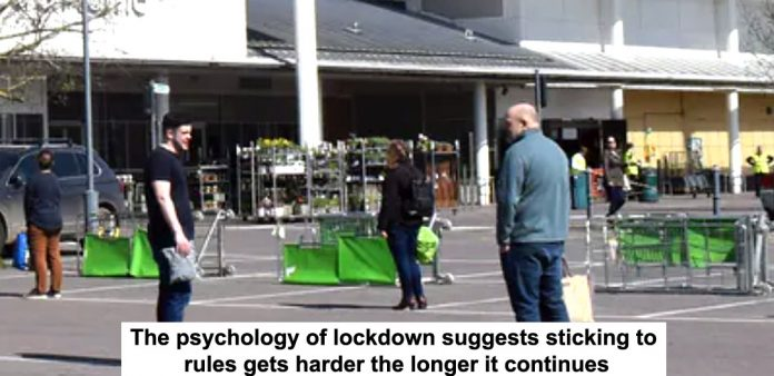 the psychology of lockdown suggests sticking to rules gets harder the longer it continues