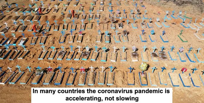 in many countries the coronavirus pandemic is accelerating, not slowing