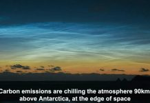 carbon emissions are chilling the atmosphere 90km above antarctica, at the edge of space
