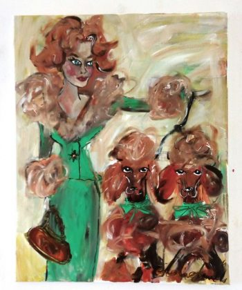 poodle paintings by original artist maria smirlis collected world wide