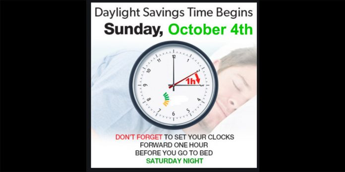 time to turn ahead your clocks tonight – daylight savings commences 2am sunday 4th october