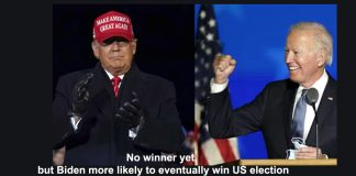 no winner yet, but biden more likely to eventually win us election