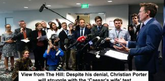 view from the hill: despite his denial, christian porter will struggle with the 'caesar's wife' test