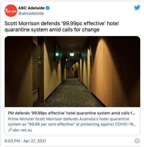 hotel quarantine causes 1 outbreak for every 204 infected travellers. it's far from 'fit for purpose'