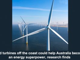 wind turbines off the coast could help australia become an energy superpower, research findsimage