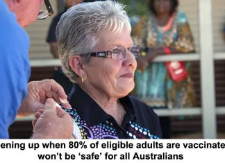 opening up when 80% of eligible adults are vaccinated won't be 'safe' for all australians