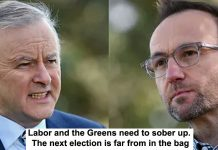 labor and the greens need to sober up. the next election is far from in the bag