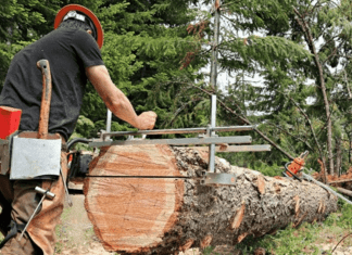 making the cut with a chain sawmill