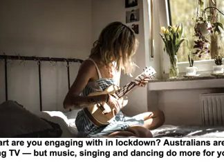 what art are you engaging with in lockdown? australians are mostly watching tv — but music, singing and dancing do more for your mood