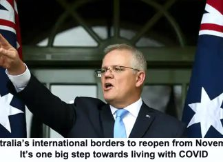australia's international borders to reopen from november. it's one big step towards living with covid